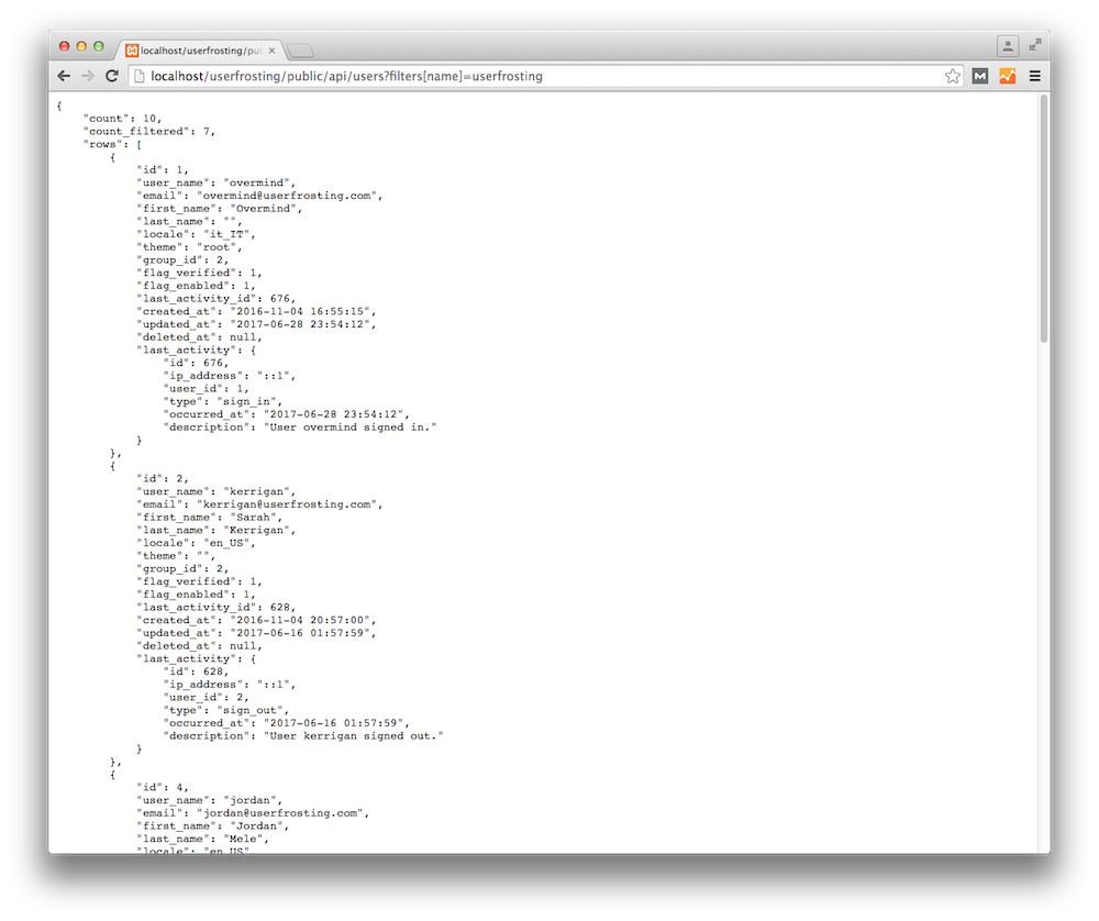 Directly viewing the output of a JSON API